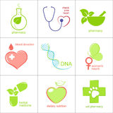 Health care icons. Set of icons for medicine, health care and pharmacy Stock Photo