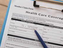 Health care insurance claim form Royalty Free Stock Images