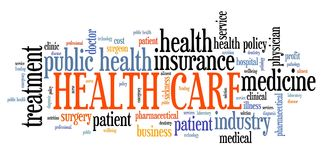 Health care words. Health care issues and concepts. Word cloud sign vector illustration