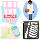 Health care items. 4 items that can be used for health care. Hospital, doctor with file, pain pills and x-ray of broken arm Royalty Free Stock Photos