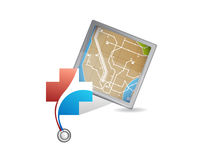 Health care locations and map concept illustration. Design isolated over white Stock Photos