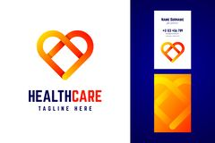 Health care logo and business card template. Vector illustration with gradient heart symbol royalty free illustration