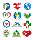 Health care logos. Several logo elements, which can be used for your company logo royalty free illustration