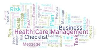 Health Care Management word cloud, made with text only. Health Care Management word cloud, made with text only vector illustration