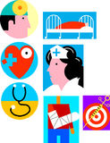 Health care/medical. Group of illustrations relating to health care, wellness, physicians, medicine and disease prevention Royalty Free Stock Photo
