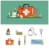 Health care medical flat banners. First aid icons set and design elements. Medical tools, drugs, scissors, stethoscope, syringe. Health care and medical flat Stock Image