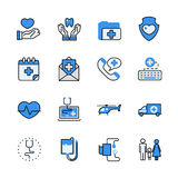 Health care medical help lineart flat vector icon set. Royalty Free Stock Image