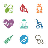 Health care, medical items. Flat style icons Stock Photography