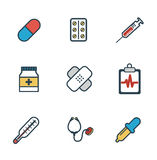 Health care, medical items. Flat style icons Royalty Free Stock Image