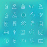 Health care and Medical Line Icons Set over Polygonal Blurred Ba Royalty Free Stock Photo