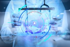 Medicine doctor working with modern computer interface as medica. Health care and medical services with circular AR diagram record.double exposure of Medicine royalty free stock images
