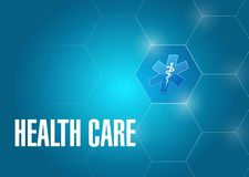 Health care medical symbol. Isolated over a blue background stock illustration