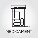 Health care medicament black icon drawing in outline style royalty free illustration