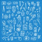 Health care and medicine doodle icon set Stock Image