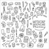 Health care and medicine doodle icon set Royalty Free Stock Image