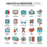 Health care, medicine. First aid. Medical blood tests and diagnostic. Heart cardiogram. Pills and drugs.Thin line web. Icon set. Outline icons collection.Vector Royalty Free Stock Photos