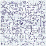 Health care and medicine icon set. Vector doodle illustrations. Hand drawn medicine icon set. Health care doodle icons. Vector doodle illustrations Stock Images