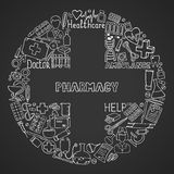 Health care and medicine icon set. Vector doodle illustrations. Royalty Free Stock Photos