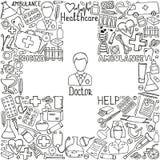 Health care and medicine icon set. Vector doodle illustrations. Hand drawn medicine icon set. Health care, pharmacy doodle icons in black and white. Vector Royalty Free Stock Photos