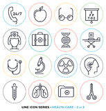 Health care & medicine line icons set Royalty Free Stock Photography