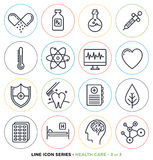 Health care & medicine line icons set Royalty Free Stock Photo