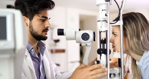 Health care, people, eyesight and technology concept. Health care, medicine, people eyesight and technology concept Stock Photos