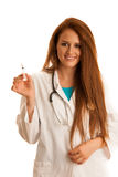 Health care and medicine - young woman doctor isolated over whit Stock Photo