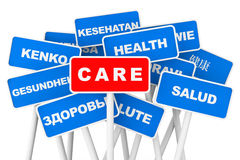 Health Care multilanguages banner signs Royalty Free Stock Photos