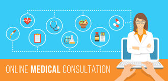 Health care online consultation flat banner. Health care online consultation flat conceptual banner. Medical assistance by internet. Female doctor consultant Royalty Free Stock Image