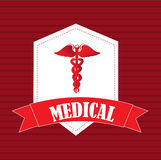 Health care. Over red background vector illustration Stock Photo