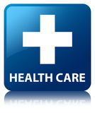 Health care (plus sign) blue square button. Health care (plus sign) isolated on blue square button reflected abstract illustration Royalty Free Stock Photography
