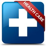 Health care (plus sign) blue square button red ribbon in corner. Health care (plus sign) isolated on blue square button with red ribbon in corner abstract Royalty Free Stock Photography