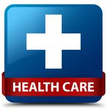 Health care (plus sign) blue square button red ribbon in middle. Health care (plus sign) isolated on blue square button with red ribbon in middle abstract Stock Photos