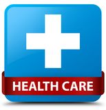 Health care (plus sign) cyan blue square button red ribbon in mi. Health care (plus sign) isolated on cyan blue square button with red ribbon in middle abstract Stock Image