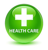 Health care (plus sign) glassy green round button. Health care (plus sign) isolated on glassy green round button abstract illustration Royalty Free Stock Photos