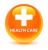 Health care (plus sign) glassy orange round button Stock Photography