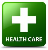 Health care (plus sign) green square button. Health care (plus sign) isolated on green square button abstract illustration Royalty Free Stock Photos