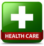 Health care (plus sign) green square button red ribbon in middle. Health care (plus sign) isolated on green square button with red ribbon in middle abstract Stock Photography