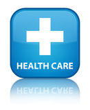 Health care (plus sign) special cyan blue square button. Health care (plus sign) isolated on special cyan blue square button reflected abstract illustration Royalty Free Stock Photography