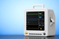 Health care portable cardiac monitoring equipment. 3d Rendering. Health care portable cardiac monitoring equipment on a blue background. 3d Rendering stock illustration