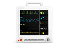Health care portable cardiac monitoring equipment Stock Photo