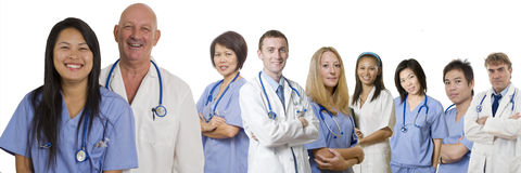 Health Care professionals. Doctors and Nurses standing isolated with white background Stock Photography
