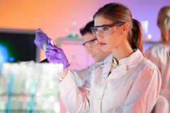 Health care professionals. Attractive young scientist looking at the microscope slide in the life science laboratory. Coworkers working in the lab background Stock Photos