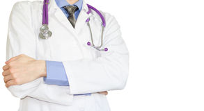 Health care professionals. Doctor in white coat with phonendoscope Royalty Free Stock Image
