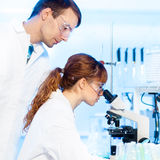 Health care professionals in lab. Attractive young female research scientist and her post doctoral male supervisor looking at the microscope slide in the life Royalty Free Stock Photos