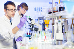 Health care professionals in lab. Young male researcher looking at the microscope slide in the life science (forensics, microbiology, biochemistry, genetics Royalty Free Stock Photography