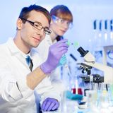 Health care professionals in lab. Young male researcher looking at the microscope slide in the life science laboratory. Female asistant scientist working in the Stock Image