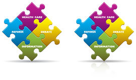 Health Care Puzzle Pieces. Colored health care puzzle pieces with a shadow and reflection Stock Image