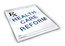 Health Care Reform. For the change to the status of the medical insurance and health care system on a pharmacy prescription note Stock Images
