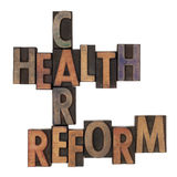 Health care reform crossword. In vintage wooden letterpress types stained in ink, isolated on white Royalty Free Stock Images